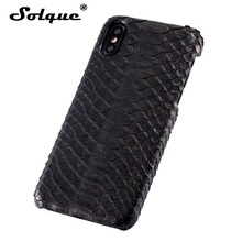 Solque Luxury 3D Python Skin Case For iPhone X 10 Cell Phone Natural Real Genuine Leather Snake Snakeskin Hard Cover Cases(China)