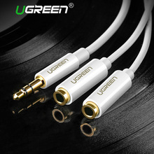 Ugreen Jack 3.5mm Earphone Audio Cable Splitter Adapter 1 Male to 2 Female Extension Aux Cable for Car MP3/4 CD Player