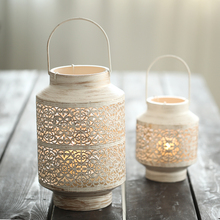 The Hollow iron candle holder light projection metal decoration beautiful decorative gift