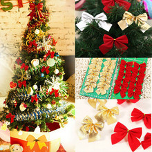 24pcs/lot Pretty Red Bowknots For Festival Decoration Christmas Tree Christmas Ornament Xmas Happy New Year Decoration 2017(China)