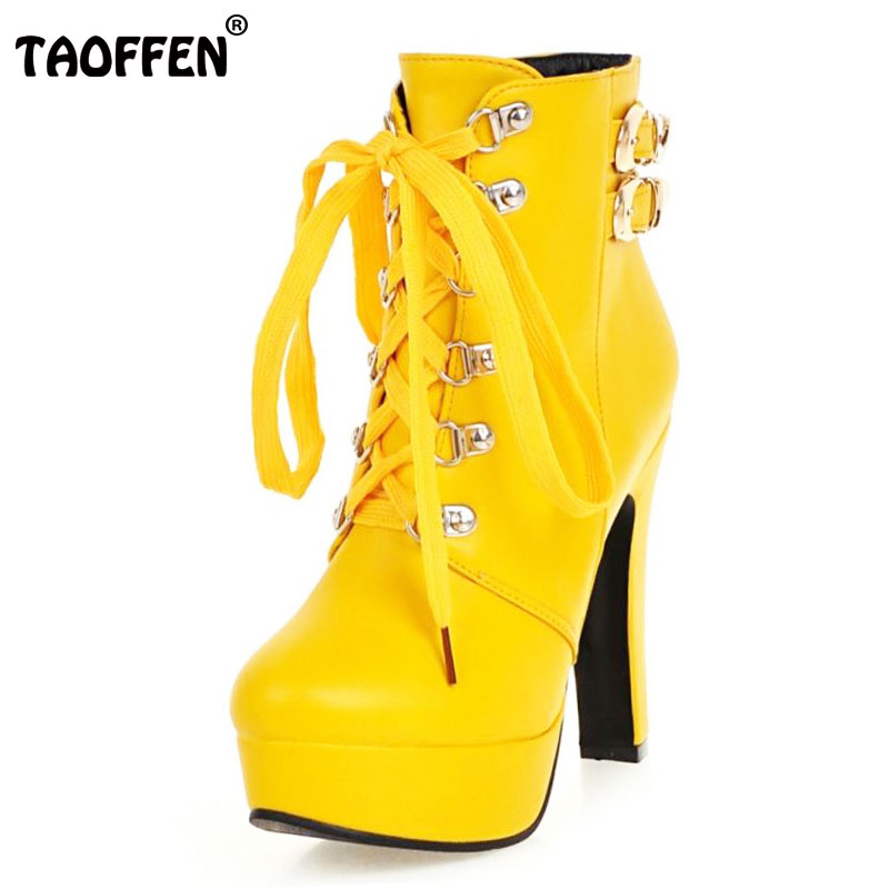 TAOFFEN Winter Women Round Toe Ankle Boots High Heels Lace Up Shoes Double Buckle Platform Short Martin Booties Size 33-43<br>