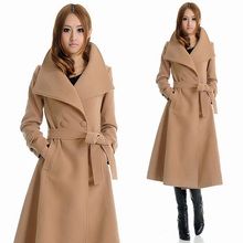 Falll New Womens XXXL Wool coat , Female Long Camel Double Breasted Belt Woolen Overcoat , Winter Cashmere Coats For Woman