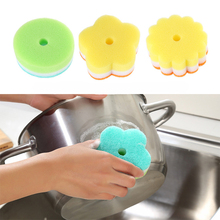 5PCS Flower Shape Dish Sponge Magic Rub Dishwashing Sponge Strong Detergency Wash Eraser Cleaner Kitchen Cleaning Tools D1