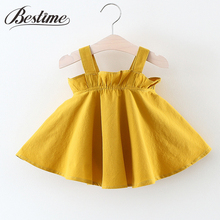 Bestime 0-3years Toddler Dress Kids Clothes Summer 2017 Solid Color Mustard Yellow Girls Slip Dress Fashion Children Dress
