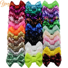 "Free DHL 300pcs/lot 3"" Sequins Bow WITHOUT Hair Clips Girls Solid Tiny Glitter Hair Bow For Kids DIY  Headbands Hair Accessories"