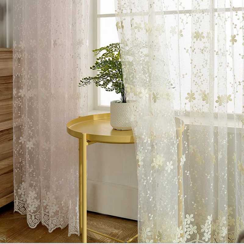 Korean Fresh White Gypsophila Lace Embroidery Sheer Curtains For the Living Room Customized Floating Window Bedroom