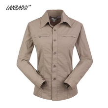LANBAOSI Quick Dry Shirts for Women Breathable Convertible Sleeve Shirt Hiking Trekking Camping Outdoor Sport Female Tops(China)