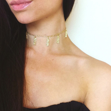 Simple Gold Vermeil Chain Tassel Choker Necklace For Women Delicate collarbone necklace XL077