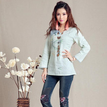 New M - 3XL Plus Size Long Sleeves Autumn Winter Women Cotton Linen Clothing Chinese Style Vintage Woman Green Shirts MF18(China)