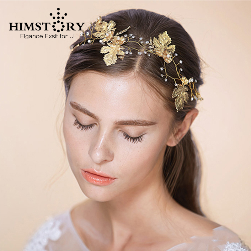 HIMSTORY Handmade Gold Maple Leaf Rhinestone Crystal Tiara Hairbands Hair Accessories Wedding Dress Hairwear Headpiece(China)