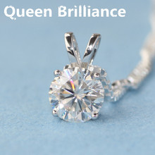 Queen Brilliance Solid 18K 750 White Gold Beautiful 1 Ct F Color Lab Grown Moissanite Diamond Pendant Necklace 4 Prong For Women