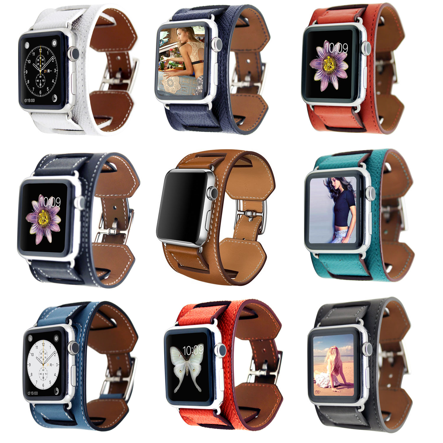 High Quality Litchi Genuine Leather Cuff Bracelet for Apple Watch Series 2 Watch Band Strap for Apple Watch iWatch 1st 42mm 38mm<br><br>Aliexpress