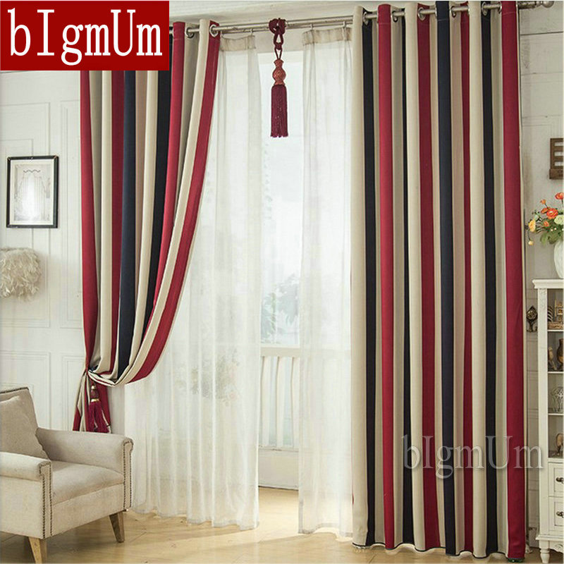 Wholesale Blackout Curtains Stiped Window Drapes For Bedding Room Short Long CusomizedChina