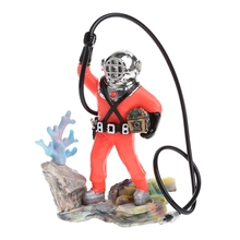 Aquarium Decor Hunter Treasure Figure Action Fish Diver Tank Ornament Aquarium Realistic Design Landscape Cave Aquarium Decor(China)