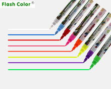Flashcolor 1pcs Highlighter Pen 3mm 6mm 8mm Liquid Chalk Fluorescent Neon Marker LED Glass board Art Marker Pens Office Supplies