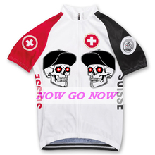 Man nowgonow bike wear 2017 tour Swiss white birds cycling jersey clothing pro team racing riding Switzerland flag Skull head