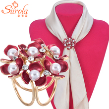 SIIROLA Women Jewelry Gold-color Brooch Imitation pearl Crystal Hand painted Cole flower Hijab Shawl Scarves Circle Buckle Clips