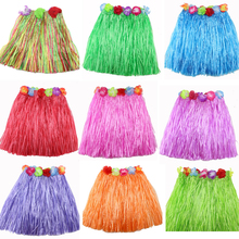 2017 new 9 Colors Plastic Fibers Kid Grass Skirts Hula Skirt Hawaiian costumes 40CM Girl Dress Up