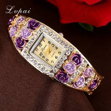 Lvpai 2016 New Watch Women Crystal Bracelet Flower Wristwatch Women Dress Clock Classic Gold Red Fashion Casual Jewelry Watch