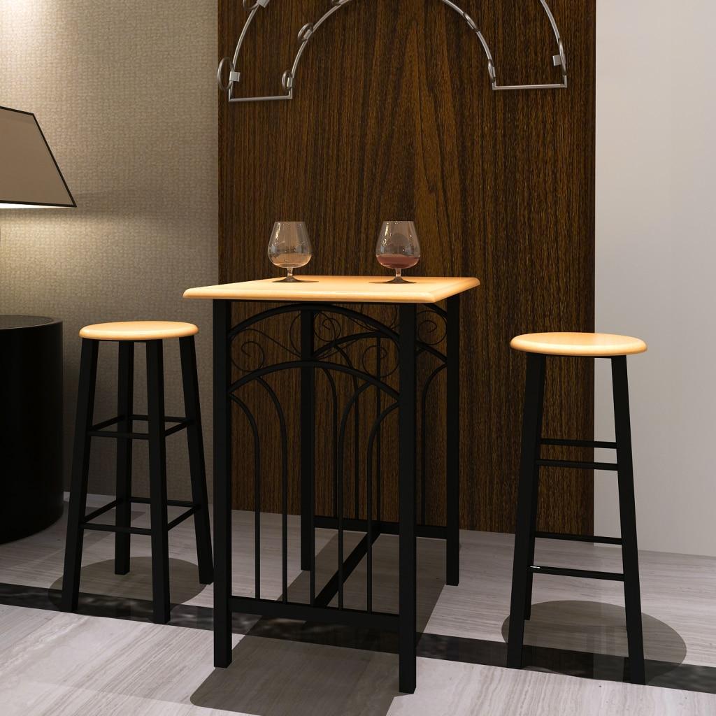 Ikayaa Industrial Style Bar Stool Table Set Natural Pinewood Top Breakfast Dinner Dining Mdf For Home Restaurant Setsindustrial Aliexpress