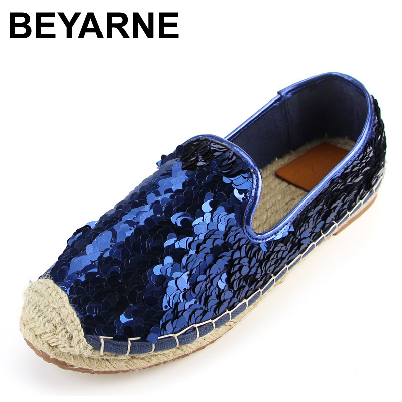 BEYARNE Sequins Paillette Upgrade Straw Rope Braid Espadrilles Alpargata Casual Womens Fashion Flat Shoes Loafers<br>