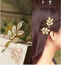 2017 New Fashion hair wear gold colour leaf design Hairpin for girl women ladies Wedding Hair Jewelry Accessories free shipping