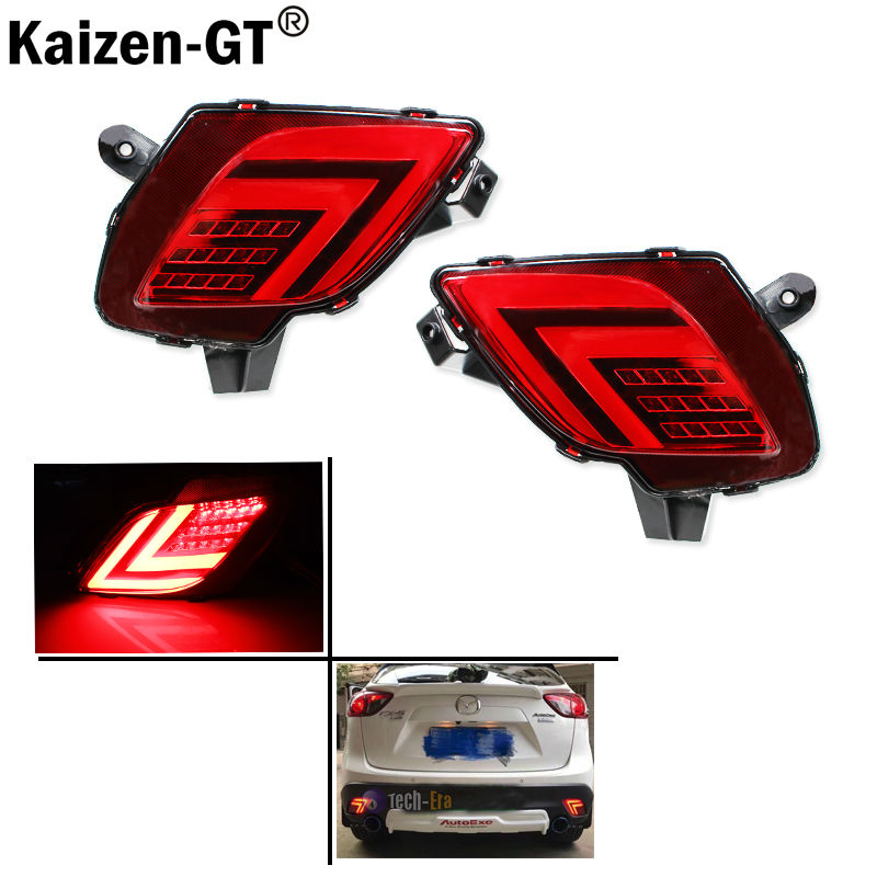 2PCS For Mazda CX-5 CX5 2013 - 2016 SNCN Multi-function LED Rear Bumper Light Rear Fog Lamp Auto Bulb Brake Light Reflector<br>