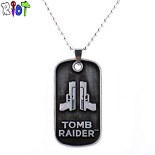 Tomb Raider logo gun design Pendant Necklaces The 20th anniversary bead chain vintage choker necklace alloy dog tag fans jewelry
