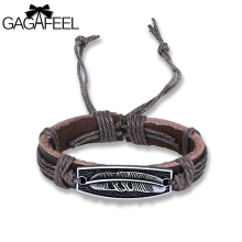 GAGAFEEL Feather Leather Bracelet For Man Male Boy's Bracelets & Bangles Classic Fine Jewelry Summer Style Support Dropshiping(China)