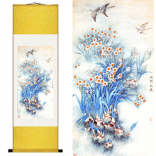 Chinese Silk watercolor flower and birds ink Meticulous daffodils feng shui canvas wall picture damask framed scroll painting