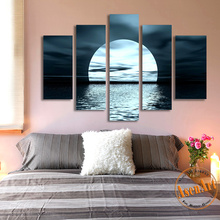 5 Panel Moon Picture Night Sea Landscape Painting for Living Room Modern Home Decor Wall Art Canvas Prints No Frame