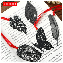 AIHAO Free shipping Vintage Retro Metal Bookmark Black Butterfly Flower Leaf Book Marks Paper Clip Office School Supplies 1804(China)