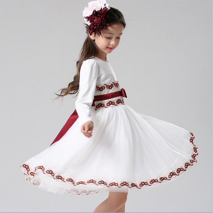 Girls Autumn Dress Fashion Cute Floral Prints Long Sleeve Mesh Princess Dress Childrens Clothing Designed<br><br>Aliexpress