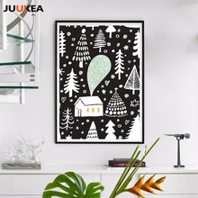 Merry Christmas Tree House Nordic Cartoon Illustration Kids Room Decoration Canvas Print Painting Poster Wall Picture Home Decor