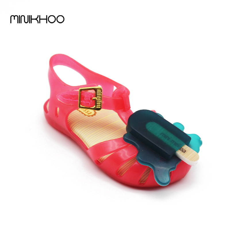 Mini Melissa (4Color) Lovely Popsicle Sandals Girls Sandals Shoes Jelly Mini Melisa Ice Cream Sandals Toddler Girl Sandals(China (Mainland))