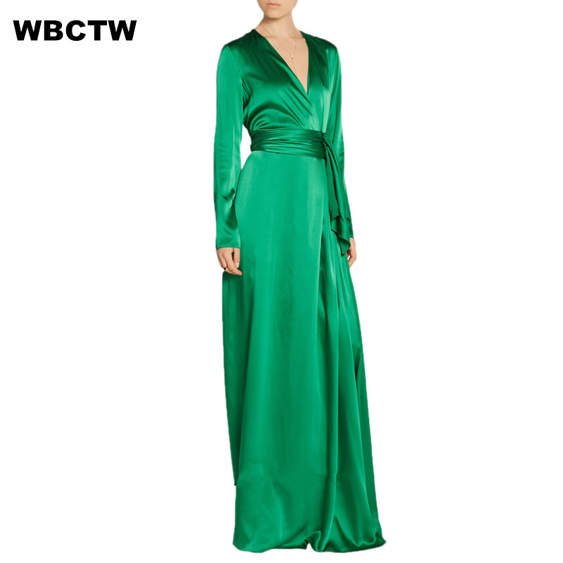 Wrap Dress Bandage With Belt Womwns Long Sleeve Floor Length Deep V-neck Green Solid Color Big Custom Size Elegant Satin Dresses(China)
