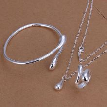 jewelry silver plated jewelry set, fashion jewelry  drop water fashion hot set Droptear Ring Bangle Necklace S331