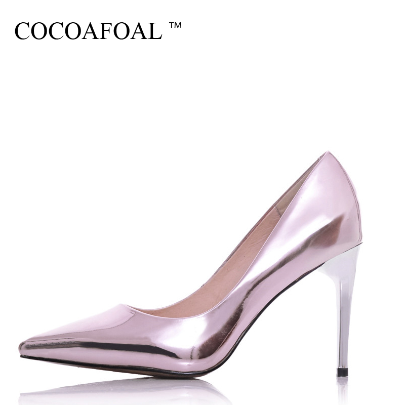 COCOAFOAL Woman Silvery High Heels Shoes Fashion Sexy Stiletto Pink Pumps Patent Leather Pointed Toe Party Wedding Pumps 2018<br>