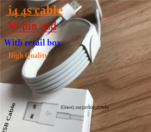 500pcs 1:1 Original Quality 30Pin Metal Braided USB Date Sync Charger Cable Charging Line For iPad 2 3 for iPhone 4 4S 3G 3GS