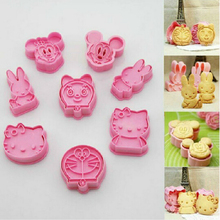 8 pcs cookie cutter mickey Minnie hello kitty doraemon cooking tools styling tools cake decorating tools free shipping AF015