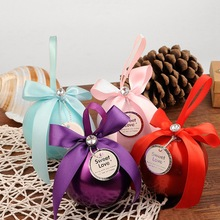 4Pcs/Lot Bonbonniere Wedding Candy Boxes Ball-Shaped Sweet Tins Box Bonbonniere Gifts Valentine Party Wedding Favor Tins Boxes