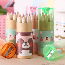 12 Colors Drawing Colored Pencil with sharpener Kawaii School Student Stationery with Cute Little Bear Patterns Total 240pcs(China)