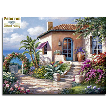 Marina villa Full Diamond embroidery landscape Diy Diamond painting house 3d Diamond mosaic square icon Paste the whole picture