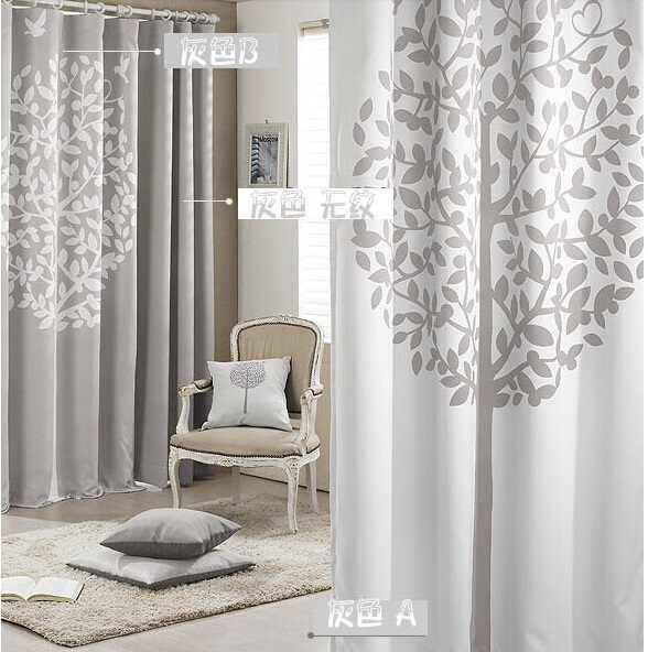 modern  window curtains  printed tree grey pink  Living room blackout tulle curtains cortinas for window 140cm * 240cm