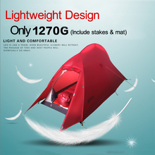 Light-weighting Ultralight Double Layer Waterproof Camping Tent 15D Nylon Silicon Coated Single Tents Aerospace Aluminum Rod
