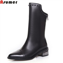 ASUMER 2017 hot sale new arrive women boots fashion zipper black genuine leather pointed toe ladies boots simple mid calf boots