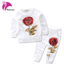 2017 Kids Girls Clothing Sets Girls Flower Toddler Outfits Red Rose Design Fashion Casual Cotton Children Suits