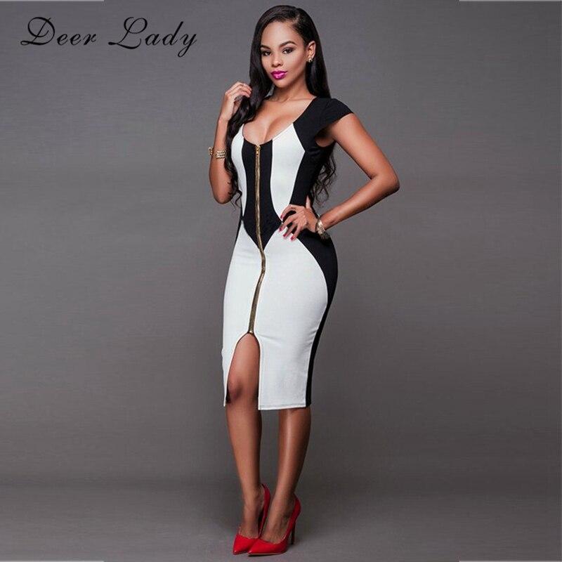 Deer Lady Summer Dresses Women 2018 Black White Bandage Dress Front Zipper Bodycon  V Neck Bandage 7f46db7636e6