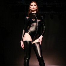 Buy Sexy Latex Skinny Bodysuit Women Long Sleeve Front Zipper Catsuit Thong Body Suits Female Wetlook Club Wear Costumes
