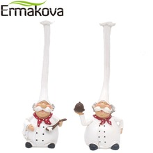 ERMAKOVA 2 Pcs/Set Resin Kitchen Chef Figurine Cake Bakery Chef Miniature Cook Statue Home Kitchen Restaurant Bar Cafe Decor(China)